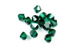 Swarovski Crystal Bicone Light Emerald Satin | JBCBeads.com #swarovski #crystal #beads #beading #jewelrymaking #diy #birthstone #emerald