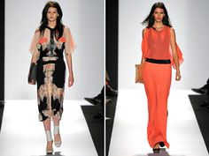 BCBG Max Azria Spring 2012 via Honestly...WFT. Love the sheer tangerine and the leather halters