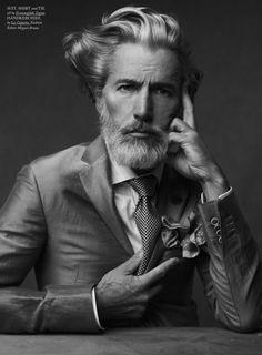 Aiden Shaw for Hercules b/w portrait Aiden Shaw, Der Gentleman, Gentleman Style, Mature Mens Fashion, Beard Fashion, High Fashion, Fashion Men, Fashion Editor, Mode Masculine