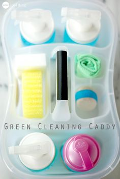 """With an inexpensive caddy, some basic ingredients, and a few simple tools, you can create your own cleaning caddy to help """"green"""" and streamline your cleaning routine."""