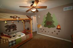 Camping room, like the lights on the bed