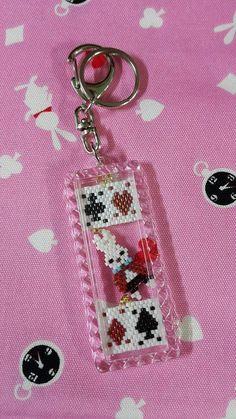 White Rabbit Alice in wonderland keychains Bead by twoeardesign