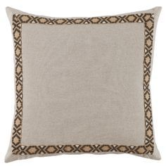 We have a pair of these beautiful Danish linen 24 x 24 throw cushions with fossil on tan embroidered tape.