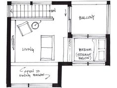 Tiny House 500 sq. ft. Upper floor plan