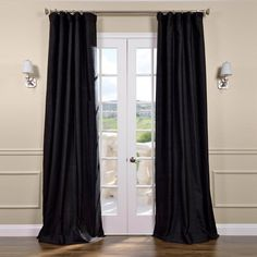Black Silk Curtains   Half Price Drapes (1240 MAD) ❤ liked on Polyvore featuring home, home decor, window treatments, curtains, black curtains, black home accessories, half price drapes, black window treatments and silk window treatments