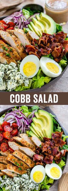 The cobb salad is a main-dish American garden salad that's created with chicken, bacon, eggs, avocado, tomato, red onions, blue cheese, and drizzled with a tangy red wine vinegar dressing.