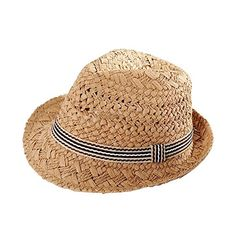 803e176377a Boys  Kids Panama Style Straw Fedora Sun Hat Short Brim Beach Hat Caps