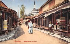 SARAJEVO, BOSNIA, LANDESUBLICHE DUCANS, STREET, used Military Cancel c. 1914-18