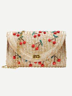 Beige Cherry Applique Straw Chain Bag