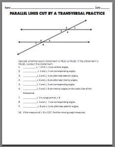 Parallel Lines Cut by a Transversal Worksheet. Free printable