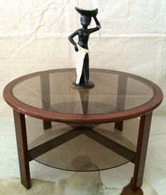 Vintage ROUND TEAK & GLASS COFFEE TABLE Retro Mid Century TH Brown Parker