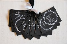 Lot de 15 tag etiquettes noël chalkboard (n°2) - Un grand marché Theme Noel, Napkins, Creations, Gift Wrapping, Tableware, Gifts, Black, Tiny Gifts