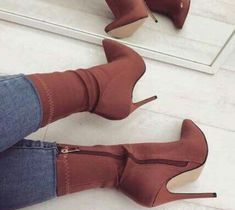 Brown Stiletto Heel Classic Ankle Booties image 1 - Rzeczy do noszenia - Heels Ankle Booties, Bootie Boots, Shoe Boots, Fly Boots, Bootie Heels, Cute Shoes, Me Too Shoes, Trendy Shoes, Casual Shoes