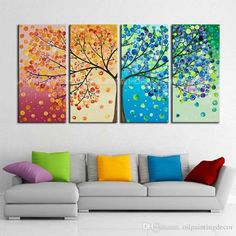 Hand Painted 4 Season Tree Painting On Canvas 4 Piece Home Decoration Modern Wall Art Abstract Colorful Oil Picture Set - Loluxe - 4