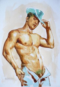 original drawing watercolor painting artwork male nude gay man on paper by hongtao #9-010 (Pintura),  5,5x7,5 in por Hongtao WATERCOLOR PAINTING ON PAPER(300/M2) BY ARTIST.   EUR16 to worldwide shipping by Register Airmail after receiving the payment you maybe get it in about 15 -30 days,some large size paintings will be sent out by Express normally express will take 5-7 days to arrive, If you would like your paintings or drawing to be shipped by Express , the cost is EUR23 to worldwide .In…