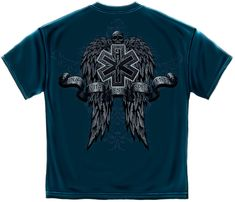 EMS EMT T SHIRT GOTHIC STYLE WINGED STAR OF LIFE SKULLS PARMEDIC S-3XL MENS BLUE | Clothing, Shoes & Accessories, Men's Clothing, T-Shirts | eBay!