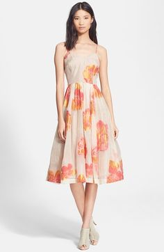 Tracy Reese Floral Print Organza Fit & Flare Dress Top Reviews Sale