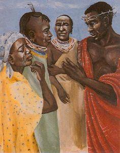 Through Nomadic Eyes - Stations of the Cross in Lodwar Cathederal, Kenya. 8 Jesus meets the women of Jerusalem African American Art, African Art, Pictures Of Christ, Black Jesus, Black Art Pictures, Black Love Art, Biblical Art, Sacred Art, Bible Art