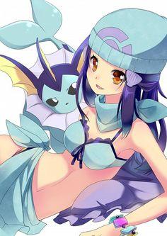 Tags: Anime, Nyori, Pokémon, Vaporeon, Hikari (Pokémon), Bikini Top, Vaporeon (Cosplay)