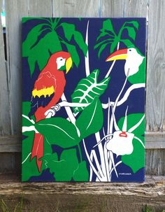 Vintage MARUSHKA Mid Century Tropical Parrot Silk Screen Fabric Canvas Print