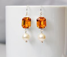 Orange Topaz Screw Back Clip or Pierced Eco by Studio10102 on Etsy