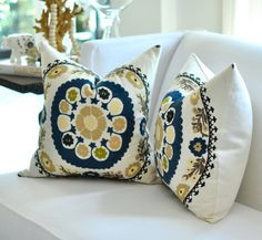 20sq Bukhara Suzani Embroidery pillow cover in Teal by woodyliana, $78.00