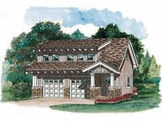 Eplans Garage Plan - Craftsman Carriage House - 1447 Square Feet and 1 Bedroom from Eplans - House Plan Code HWEPL07823