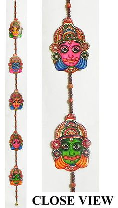 Hand Painted Hanging Kathakali Faces with Beads – Perforated Leather Crafts from Andhra Pradesh Hand Painted Hanging Kathakali Faces with Beads – Perforated Leather Crafts from Andhra Pradesh (Leather)) Clay Crafts, Diy And Crafts, Arts And Crafts, Paper Crafts, Leather Art, Leather Crafts, Kathakali Face, Mobiles, Wall Hanging Crafts