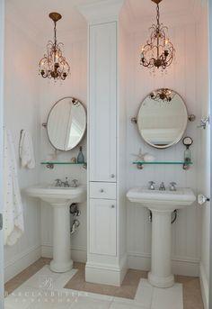 Bathroom Ideas. Bathroom Sink Ideas. Small Bathroom Design Ideas. Built-in Bathroom Storage. #Bathroom #SmallBathroom #BathroomStorage. Barclay Butera Interiors.