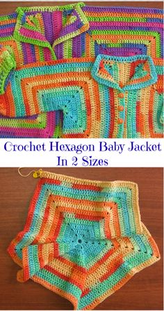 Crochet Hexagon Baby Jacket In 2 Sizes - Crochet Ideas Crochet Baby Cardigan Free Pattern, Crochet Baby Jacket, Gilet Crochet, Crochet Baby Clothes, Crochet Stitches Patterns, Crochet Shawl, Baby Patterns, Knit Crochet, Crochet Blouse