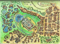 Foto: This is as far as I can go tonight. Village map hand coloring with… Fantasy City Map, Fantasy World, Medieval Town, Medieval Fantasy, Plan Ville, Isometric Map, Village Map, Map Projects, Dungeon Maps