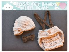 Crochet Newborn Baby Boy Photo Prop Set Cream Newsboy Hat Diaper Cover Light Brown Suspenders Bow Tie Made to Order. $30.00, via Etsy.