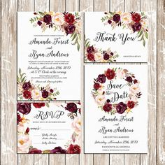 Gorgeous wedding invitation suite - watercolor ivory background with floral elements and matching items. This digital printable set includes: ----------------------------------------- Wedding Invitation, RSVP Card, Save the date and Thank you cards, will be EMAILED to you as high-res, print ready digital files, for you to print at home or take to your printer. You can print as many as you like. No physical printed artwork will be sent to you. Files included : : : : : : : : : : : : : : : :...