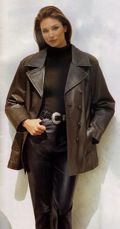 Leather Jacket, Leather Coats, Leather Fashion, Vintage Leather, Fall Outfits, Girl Fashion, Dress Up, Sexy, How To Wear