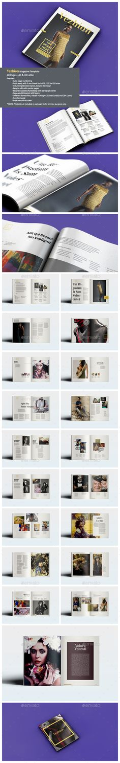 Stylish magazine with an elegant and clean look. Available in A4 and Letter paper formats. It contains 40 pages with grid/column based design makes it easy to customize and re-arrange in InDesign. Vezhion Magazine designed for visual content, highly recommended for used on fashion, photography, or art magazine.