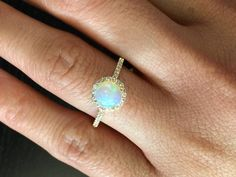 18k Yellow Gold Diamond Halo Round Fire Opal by LDFineJewelry