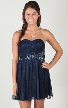 strapless dress with glitter mesh and stone applique