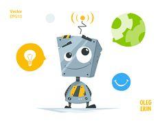 Cute little robot Vector Character Design Illustration Mascot