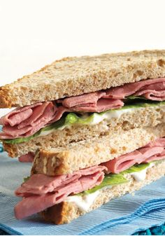 Beef and Blue Sandwich – Roast beef, blue cheese dressing, a few romaine lettuce leaves, and whole wheat bread—that's all it takes to make this hearty, flavorful sandwich recipe.