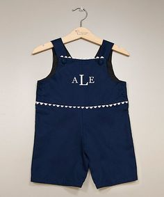 Navy & White Monogram Shortalls - Infant & Toddler