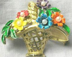 St Labre Flower Basket Brooch
