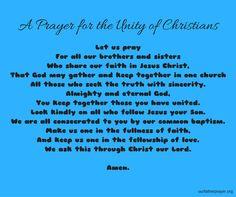 A Prayer for Unity of Christians ⋆ Our Father Prayer - Christians United in Faith God Jesus, Jesus Christ, Prayer For Guidance, Our Father Prayer, Everyday Prayers, Christian Prayers, Dear Lord, Daily Bread, Christians