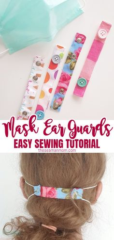An easy tutorial for creating quick DIY ear savers two ways. Medical workers will be excited about the huge ear pain relief! Small Sewing Projects, Sewing Hacks, Sewing Tutorials, Sewing Crafts, Sewing Tips, Tutorial Sewing, Sewing Ideas, Crochet Projects, Diy Projects