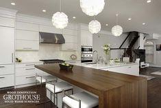 White Kitchen Design includes White Oak Countertop  https://www.glumber.com/