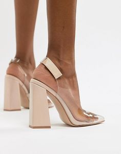 Buy Public Desire Lure nude clear detail block heeled shoes at ASOS. With free delivery and return options (Ts&Cs apply), online shopping has never been so easy. Get the latest trends with ASOS now. Bootie Boots, Shoe Boots, Shoes Heels, Beyonce Shoes, Asos, Bridesmaid Shoes, Block Heel Shoes, Embellished Sandals, Shoes Outlet