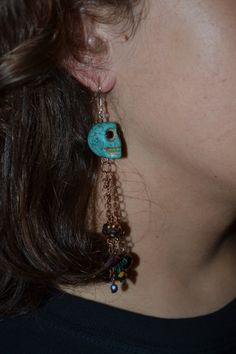 Turquiose skull dangle earrings by 13TallulahBeanLane on Etsy, $15.00 *SOLD*