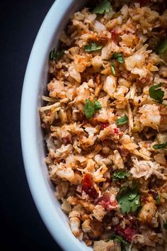 This Spanish cauliflower rice recipe is perfect for cutting carbs and sneaking more veggies into your diet. Low carb, keto friendly and dairy-free! Chicken And Shrimp Pasta, Shrimp Pasta Recipes, Rice Recipes, Low Carb Recipes, Veggie Recipes, Easy Recipes, Healthy Work Snacks, Healthy Foods To Eat, Healthy Dinner Recipes