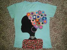Blusa Africana com apliques de fuxico e botões