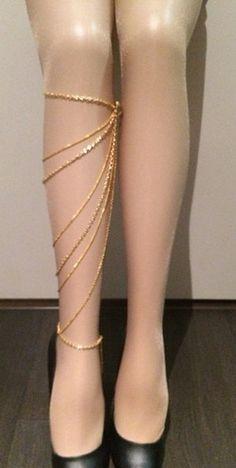 18k gold side leg chain leglet anklet. by SinsationJewelry on Etsy