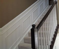 Hall Decor Ideas ~ How to drastically improve your home's aesthetic (and value) by adding WAINSCOTING: We improved our home's value dramatically with this low-cost, DIY upgrade. See before & after pictures, what equipment we used, and our cost. Home Upgrades, Home Improvement Projects, Home, Foyer Decorating, Cheap Home Decor, Wainscoting Stairs, Home Diy, Dining Room Wainscoting, Diy Wainscoting